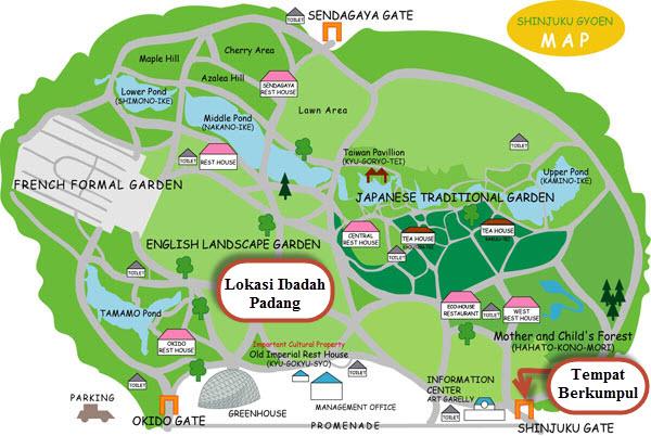 Shinjuku Gyoen Map - Ibadah Padang
